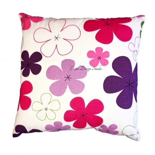 Малиновая подушка с цветами Киев