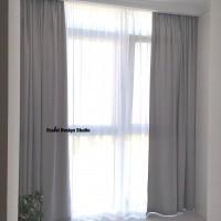 Серые шторы и тюль