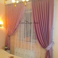 розовые шторы для спальни